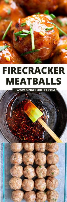 Spicy Chicken Meatballs aka Firecracker meatballs recipe with step-by-step instructions. These spicy and sweet twice-baked chicken meatballs are super easy to make and tastes delicious as an appetizer or in a meal!      #meatballs #firecrackerchicken #firecracker #chicken #chickenmeatballs #firecrackermeatballs Firecracker Meatballs, Firecracker Chicken, Baked Chicken Meatballs, Chicken Meatball Recipes, Appetizer Recipes, Appetizers, Sriracha Sauce, Ground Chicken, Meat Chickens