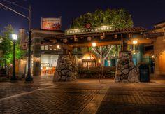 The Red Car Trolley stop at night on Buena Vista Street at Disney California Adventure