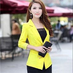 HO 2014 New Modal Back Lace Decoration Blazers Suits Ladies 3 4 Sleeve Single Button Blazers Tops Women  Black Yellow Rose White