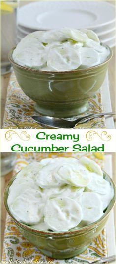 Creamy Cucumber Salad  This easy summer side dish uses sour cream and a few other ingredients and takes only a few minutes to make.