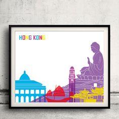 Hong Kong pop art skyline  Fine Art Print Glicee by Paulrommer