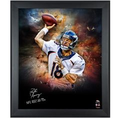 Shop Peyton Manning Denver Broncos Framed Autographed x In Focus Photograph with NFL REC 55 TDS Inscription from your favorite team at Fanatics Authentic. Go Broncos, Denver Broncos, Football Memorabilia, Different Sports, Peyton Manning, Sports Photos, Graphic Design Typography, Hologram, Custom Framing