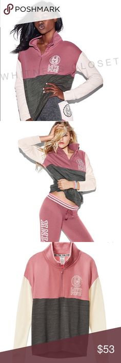New: VSPINK color block 1/2 zip sweatshirt Size small, cream gray and soft begonia color block 1/2 zip sweatshirt with high neck! Super comfy and cute! Designed to fit over sized, and can be paired with any leggings or pants! NO tradesNO price discussion in comments PINK Victoria's Secret Tops Sweatshirts & Hoodies