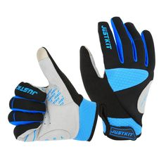 0bae52be6db JUSTKIT Cycling Gloves -Touch Screen Full Finger Bike Gloves - Windproof  Mountain Bike Gloves -