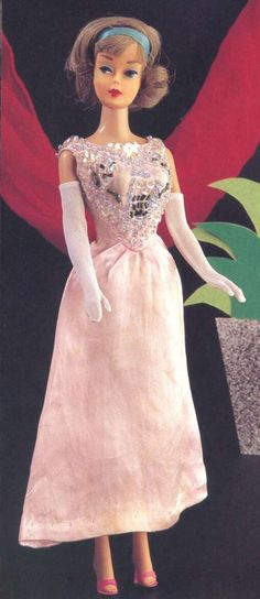 Bendable leg Barbie dolls have been found as dressed dolls in this gown. So, this dress belongs to the bend leg era, ...