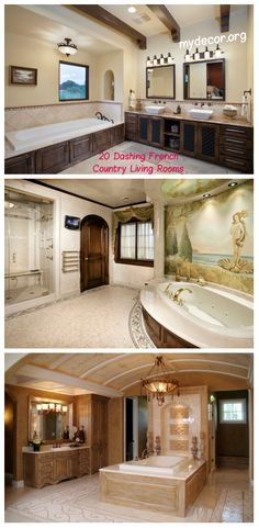 "20 Awesome Mediterranean Bathroom Decors ""Mediterranean design incorporates the influences of the Mediterranean regions of Spain, Italy, Greece, and France. Bathroom Trends, Bathroom Renovations, Bathroom Ideas, Bathroom Designs, Small Bathroom, Mediterranean Bathroom, Mediterranean Design, Bathroom Wall Decor, Bathroom Styling"