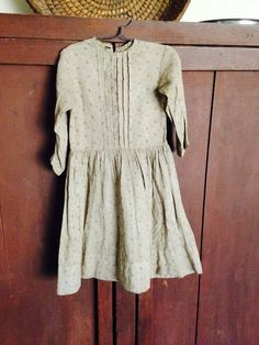 19th C Early Antique Child Children Textile Girl Dress Tan Brown Calico Color | eBay