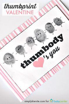 Thumbprint valentine | FREE PRINTABLE | simplykierste.com