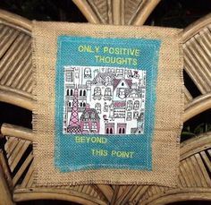Burlap Embroidery Wall Art With a Positive by BabyGlamorousShoes, $8.99