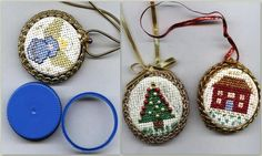 DIY Cross Stitch Bottle Cap Ornaments or Jewelry. Bottle caps from milk, orange juice etc... serve as the base for these. I don't care for them as jewelry, but they would be cute as Xmas ornaments or zipper pulls, fan pulls, etc.