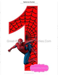Spiderman Gratis, Spiderman Party Supplies, Spiderman Birthday Invitations, Happy Birthday Signs, Marvel Comics Superheroes, Islamic Cartoon, Birthday Party Centerpieces, Printable Numbers, Birthday Numbers
