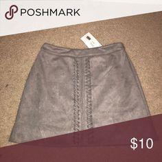 NWT Grey Suede Braided Skirt NWT Grey Suede Braided Skirt Very J Skirts