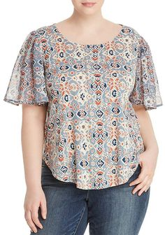 Lucky Brand Plus Mosaic-Print Keyhole Top Women - Plus - Bloomingdale's - Women's style: Patterns of sustainability Dress Sewing Patterns, Clothing Patterns, Plus Size Blouses, Plus Size Dresses, Short Kurti Designs, Casual Chic Outfits, Couture Tops, Short Tops, Blouse Designs