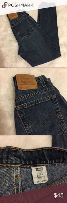 """Levi's Vintage Dark Wash 521 Jeans Vintage high waist   *521 Levi jeans.  *Perfect condition.  *Super high waisted, fitted, great overall look!  *Very flattering for vintage mom jeans.  *28"""" waist, *11.5"""" rise *32"""" inseam. Tag says 10 Long,  *tapered fit, tapered leg. Levi's Jeans"""