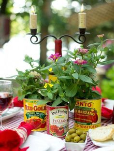 """Wildflowers in tomato cans perfect for an Italian themed rehearsal dinner. Wildflowers in tomato cans perfect for anRead More """"Wildflowers in tomato cans perfect for an Italian themed rehearsal dinner. Italian Table Decorations, Dinner Party Decorations, Dinner Themes, Italian Centerpieces, Trattoria Italiana, Italian Themed Parties, Italian Dinner Parties, Deco Buffet, Italian Bistro"""