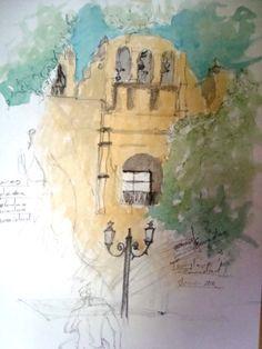Iglesia de la Caridad, San Cristobal de Las Casas, boceto Painting, Art, Saint Christopher, Charity, Sketch, Water Colors, Houses, Art Background, Painting Art