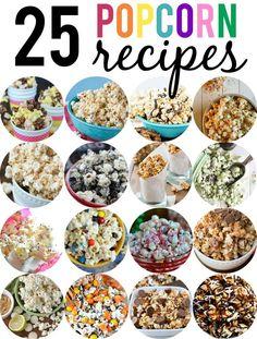 25 Popcorn Recipes from sweet to salty.  Tons of fun flavors! #popcorn #movienight #popcornrecipes