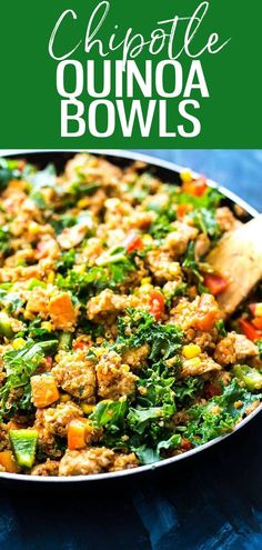 These Chipotle Sweet Potato & Quinoa Lunch Bowls are the ultimatemake-ahead lunch, filled with tons of veggies and chicken, then drizzled with a spicy chipotle sauce! #chipotle #quinoa Clean Eating Recipes, Eating Healthy, Good Healthy Recipes, Diet Recipes, Sweet Potato Kale, Chipotle Sauce, Healthy Grains, Make Ahead Lunches, Paleo Whole 30