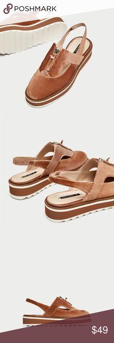 """Zara  velvet shoes NWT Zara Velvet Slingback Brogues. Sole height 1.5"""" Zara Shoes"""