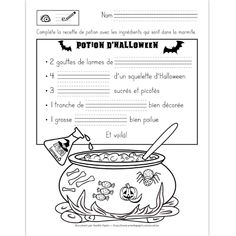 Amélie Pepin Halloween 1, Holidays Halloween, Halloween Pumpkins, Halloween Worksheets, Halloween Activities, High School French, Core French, French Classroom, Witches Brew