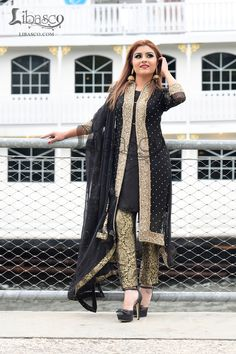 Look stylish by wearing Longer Nights embroider party dress. Designed using the best quality Pure Silk. Pakistani Fashion Party Wear, Pakistani Wedding Outfits, Pakistani Dress Design, Pakistani Dresses, Indian Dresses, Frock Fashion, Abaya Fashion, Fashion Outfits, Kurti Designs Party Wear