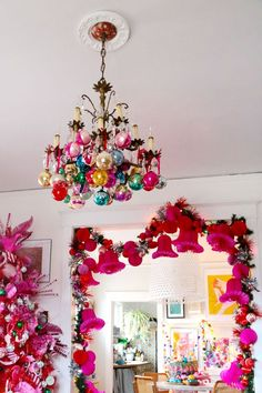 Glass-balls-on-Chandelier Wow - Aunt Peaches, you truly have outdone yourself!: : Glass-balls-on-Chandelier Wow - Aunt Peaches, you truly have outdone yourself!: Glass-balls-on-Chandelier Wow - Aunt Peaches, you truly have outdone yourself! Bohemian Christmas, Pink Christmas Tree, Merry Little Christmas, Modern Christmas, Winter Christmas, Christmas Home, Vintage Christmas, Christmas Crafts, Christmas Ornaments