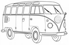 VW Bus Coloring Pages Printable. VW bus is the second line of the motor vehicle presented by the German car manufacturer Volkswagen, in Truck Coloring Pages, Free Coloring Sheets, Colouring Pages, Coloring Books, Volkswagen Bus, Mini Bus, Tattoo Oma, Van Drawing, Car Painting