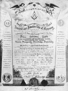 Diploma maçónico de Helena Petrovna Blavatsky