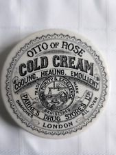 OTTO OF ROSE Cold Cream Pot Lid Vintage Packaging, Vintage Labels, Cosmetic Labels, Cold Cream, Medicine Bottles, Pot Lids, Vintage Bottles, Crock, Stoneware