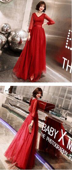 long sleeve formal dress #formaldress Evening Dresses, Prom Dresses, Formal Dresses With Sleeves, Tulle, Lace Up, V Neck, Long Sleeve, Red, Fashion