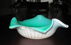 Carl Erickson Bowl RARE Cased Green White Color with Controlled Bubbles $62.50