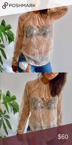 💥⚡️HP💥⚡️Bishop+Young Nude Lace Blouse 💫💫HOST PICK‼️‼️💫💫Casual Cool Chic Party ‼️‼️‼️This blouse is gorgeous, classy but still says sexy. It's pink nude, with a collar tie front and ties around the wrists. I am wearing a black strapless bra with it. A tank or nude bra would work also. NWOT Bishop+Young Tops Blouses