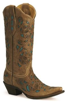 Corral Turquoise Leather Inlay Cowgirl Boots - Sheplers. I need to save for these Ive wanted them for 2 years now