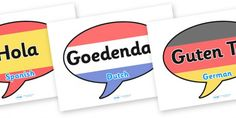 Mixed Language Hello Speech Bubble Display Signs