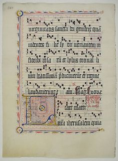 Manuscript Leaf with Initial L, from an Antiphonary Date: second quarter 15th century Geography: Made in probably Mainz, Germany Culture: German Medium: Tempera, ink, and metal leaf on parchment Dimensions: 20 x 14 3/4 in. (50.8 x 37.5 cm)