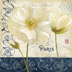 Paris Poppies Blue Trim I Poster Print by Cynthia Coulter Vintage Diy, Vintage Images, My Canvas, Canvas Artwork, Collages D'images, Decoupage Printables, Decoupage Paper, Paper Background, Online Art