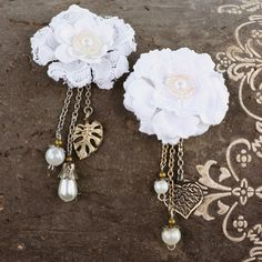 Handmade Fabric Flowers With Pearls/Charms - Madonna