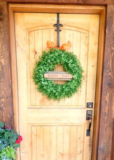 Fall Wreath-Boxwood Wreath-Fall Door Decor-Large Door Wreath-Sign Wreaths-HAPPY FALL-Autumn Wreath-Housewarming Gift-Scented…