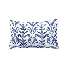 Watercolor Print Throw Pillow Navy Indigo & White 13 x