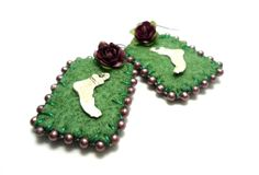 felt feet earrings by romualda on Etsy, $15.00