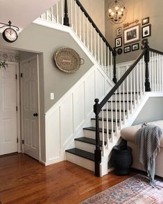 8 Farmhouse Stair Railing Ideas Guaranteed to Weave Country Charm Into Your Entryway Interior Stair Railing, Staircase Railings, Staircase Design, Black Stair Railing, Stairway Railing Ideas, Banisters, Stair Case Railing Ideas, Stairways, Stairs And Hallway Ideas