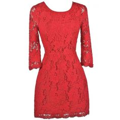 Simple Yet Stunning Lace Open Back Three Quarter Sleeve Dress in Red (345 SEK) ❤ liked on Polyvore featuring dresses, ruched cocktail dress, red lace cocktail dress, lace cocktail dress, empire waist cocktail dresses and red party dresses