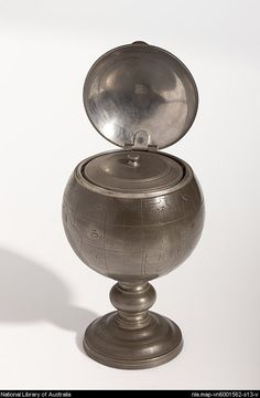 "Chinese tea caddy globe - Lonkee - Date: 1860 - 1869 // Chinese tea caddy in the form of a world globe. Includes engraved longitudes, latitudes, continents and oceans identified with Chinese characters. Inside lid and on canister ""Lonkee Swatow.. Title supplied by cataloger. The pewter globe has a hinged lid and is on a stepped circular base. The interior contains a lidded lift-out pewter canister. - ⎬ ❖ Maria Elena Garcia - ► www.pinterest.com/megardel/ ◀︎"