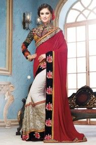 Georgette and Net Designer Saree In Off White and Red Colour
