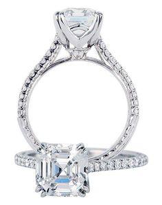 Asscher stone with white gold setting | Jack Kelege | https://www.theknot.com/fashion/kgr-1083-jack-kelege-engagement-ring