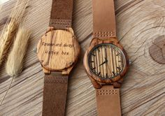 Real Wood Watches, Engraved Watch, Mens Watch, Customized Gift for Men, Personalized Engraved Wooden Watch, Anniversary gift for men by From1to9 on Etsy https://www.etsy.com/listing/269363511/real-wood-watches-engraved-watch-mens