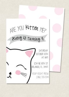 Minimalist kitty birthday invitation with pink polkadot back. Available as a 4x6 or 5x7 jpg file.  This listing is for a DIGITAL party invitation,
