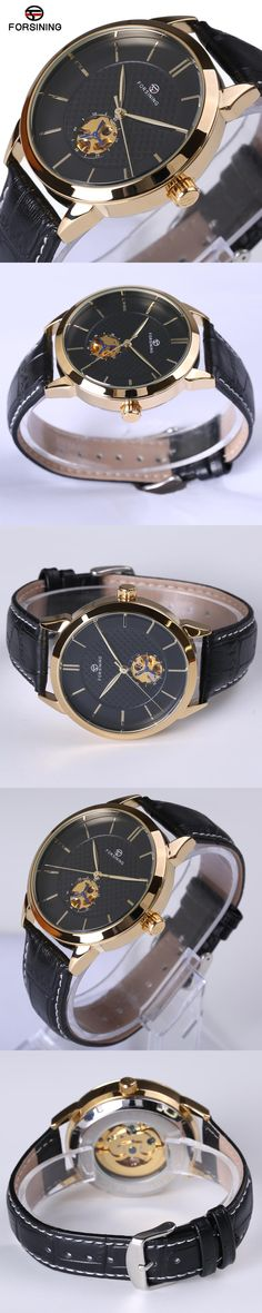 Forsining Classic Business Series Black Golden Case Leather Strap Clock Mens Watches Top Brand Luxury Automatic Mechanical Watch