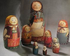 The first Russian nested doll set was carved in 1890 by Vasily Zvyozdochkin from a design by Sergey Malyutin, who was a folk crafts painter in the Abramtsevo estate of Savva Mamontov, a Russian industrialist and patron of arts.[2][3] The doll set was painted by Malyutin. Malyutin's doll set consisted of eight dolls—the outermost was a girl in a traditional dress holding a rooster. The inner dolls were girls and a boy, and the innermost a baby