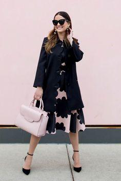kate spade new york black scallop coat, pink petal stamp dress, pink leewood place makayla satchel, pax ankle strap pumps and taking shapes earring by @jennifer_lake